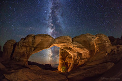 "Milky Way through Broken Arch (IronRodArt - Royce Bair (""Star Shooter"")) Tags: nightphotography lightpainting night stars nightscape arches nightsky archesnationalpark universe starrynight milkyway brokenarch starrynightsky"