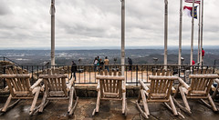 sitting, waiting, wishing (almostsummersky) Tags: travel trees winter people mountain chattanooga rock stone wall clouds forest georgia us wooden unitedstates chairs cloudy horizon hill crowd stormy flags valley railing overlook lookoutmountain rockcity flagpoles loversleap chattanoogavalley