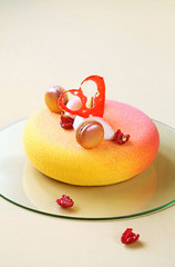Melba Entremet (Мiuda) Tags: red yellow cake french dessert eclipse baking berries sweet decoration peach velvet spray professional patisserie chef pastry raspberry jelly colored peaches decor raspberries valentinesday confectionery melba mousse macarons layered patissier entremet silikomart velvetspray