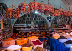 ganjali bazaar, Central County, Kerman, Iran (Eric Lafforgue) Tags: people food man men shop horizontal photography persian asia rice iran market traditional spice stall persia business indoors spices marketplace iranian bazaar typical orient sell product trade economy bazar kerman adultsonly oneperson middleeastern spicebazaar menonly  onemanonly  1people  iro  ganjalikhan centralcounty colourpicture ganjalikhancomplex  irandsc07305