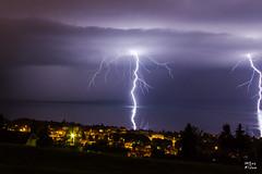 Double impact sur le Lman (MarKus Fotos) Tags: lake storm canon landscape lac bolt strike thunderstorm evian leman lman thunder eclair orage hautesavoie orages clair foudre clairs thunderstrike
