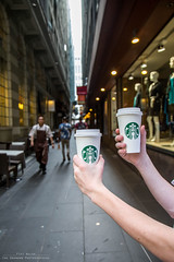 Starbucks and street photography go hand in hand (Fifi-2012) Tags: people coffee walking fun yummy drinking streetphotography starbucks enjoy lane sharing laneway