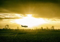 Rainy Sunset Landing (shlomo2000) Tags: sunset weather airplane french flying frankreich outdoor dusk framed aircraft campagne vignette fujinon airfield hautegaronne x100 konverter