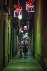 On the Narrow Street at Christmas (Shinichiro Hamazaki) Tags: barcelona christmas street spain  raval narrowstreet     christmasillumination