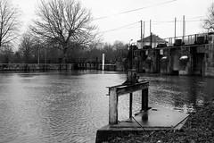 Keeping waters (wanderer_photographer) Tags: bridge trees sky water eau quiet ciel arbres pont barrage calme