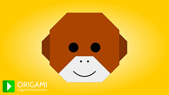 Origami Monkey Face (origami.plus) Tags: face animal kids paper monkey diy video 3d origami chimp crafts animation chimpanzee easy 3danimation paperfolding tutorial origamimonkey