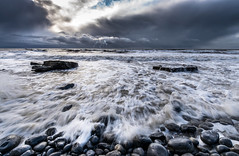 Stormy Waters (technodean2000) Tags: uk sea wales clouds landscape coast nikon rocks south stormy pebbles waters thunder ogmore bridgend lightroom southerndown d610