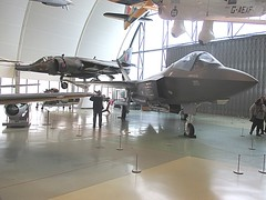 F-35 Lightning II & Harrier GR3 inside RAF Museum, Hendon 05.03.16 (TrevBruford55015) Tags: london museum 1 jump fighter martin no aircraft aviation flight jet ii lightning lockheed usaf hermes falklands warbird raf hawker milestones harrier vtol squadron hms f35 hendon siddeley vstol gr3 xz997
