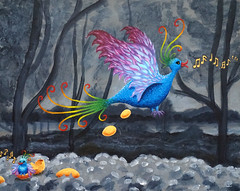 Strange bird (LiiiMaja) Tags: bird colors eggs surrealistic oilpaint songbird goldeneggs