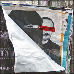 pasted over (piktorio) Tags: street wallpaper woman man berlin germany paper advertising poster ripped photomontage torn layers disguised decollage inkognito unanimous pastedover piktorio redbarface