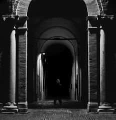 nowhere (cropped) (simoncini.nicola) Tags: blackandwhite white man black architecture dark 50mm moody arch iso 400 unknown hp5 f2 ilford xenon schneider kreuznach kodakretina anaologic