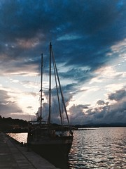 Corfu, Greek (kseniiashabalova) Tags: travel blue sunset sea summer sky cloud holiday color colour reflection travelling art nature water beautiful beauty night clouds canon dark painting greek amazing paint ship view gorgeous ships horizon arts vessel calm silence traveling paints calmness berth         550d    canon550d