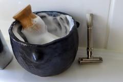 My handmade lather bowl, old Gillette razor (Mika Lehtinen) Tags: old vintage slim twist bowl safety edge shaving shave gillette lather proraso