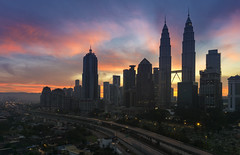 sunrise in kuala lumpur city (gilbertchuachian_siong) Tags: morning building tower sunrise highway asia cityscape arch sony petronas twin kualalumpur klcc a6000