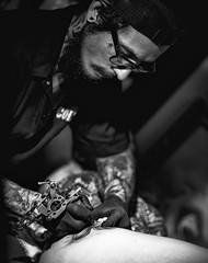 LVTC (www.facebook.com/h0bieph0t0) Tags: city las vegas bw black shop tattoo contrast tampa glasses nikon gun artist florida gray company gloves d750 ybor parlor f28 bnw