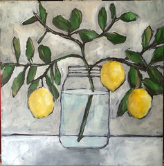 Jar of Lemons (Art by Trish Jones (theOldPostRoad)) Tags: life art kitchen by fruit ball painting jones still day branch trish lemons mothers southern gift jar vase whimsical