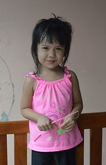 cute girl (the foreign photographer - ) Tags: pink cute girl portraits bench thailand wooden nikon child top bangkok khlong bangkhen thanon d3200