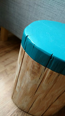 Log Side Table in custom dip effect finish in Marine Blue from The Log Basket (The Log Basket) Tags: log rustic handpainted decor plinth pedestal sidetable sofatable naturalwood dipdye logtable thelogbasket logstump logstool thelittlegreenepaintcompany