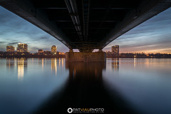 Water under the bridge (patviau) Tags: city bridge sunset reflection water colors beautiful river cityscape ottawa symmetry symmetrical
