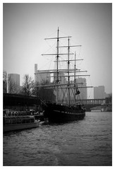 Paris, circa 1983 (Ron's travel site) Tags: blackandwhite bw paris france monochrome seine 35mm river mono boat europe ship om10 filmcamera tallship olympusom10 riverseine sailingboat circa1983 flickrandroidapp:filter=none ronstravelsite wwwronsspotuk