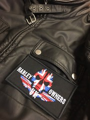 Harley Owners Embroidered Patch on Leather (Fitwell Patches) Tags: charity club print embroidery rally harley motorcycle biker woven patch badges davidson patches sponsor bullion advertise customise fitwell