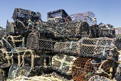 lobster pots (friendlydrag0n) Tags: ocean sea fish green net water colors fishing marine background object cage rope device pot pots rows pile baskets lobster colourful ropes agriculture mound nets crustacean netting heap knots agricultural containers crustaceans creel kniots