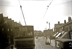 Birmingham tram on Pershore Road, Cotteridge c1950 (Lady Wulfrun) Tags: car electric birmingham britain traction tram pole route service lantern 36 tramway overhead 1950 1951 gec 1952 postwar pershoreroad doubledeck tramways cotteridge