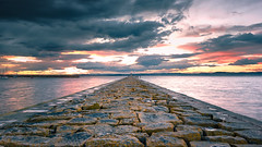 Granton Harbour Sunset (roseysnapper) Tags: sunset sky cloud seascape reflection stone river landscape scotland edinburgh wideangle symmetry firthofforth waterscape harbourwall niksoftware grantonharbour nikond810 nikkor1424f28