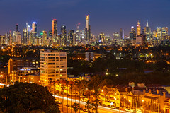 Melbourne from St Kilda (Rodney Topor) Tags: longexposure skyline cityscape melbourne victoria lighttrails bluehour stkilda canonef24105mmf4lisusm