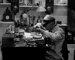 The watchmaker (rainerralph) Tags: vienna wien city blackandwhite austria sterreich streetphotography olympus stadt schwarzweiss neujahr watchmaker omdem1