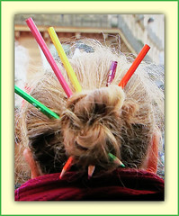 Style 2016 (bigbrowneyez) Tags: woman girl up lady female pencils hair fun interesting colours unique creative hairdo fresh delight frame blonde colourful hairstyle bun clever delightful cornice capelli style2016
