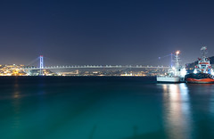 Bosphorus at night (A.Keskin) Tags: city longexposure bridge light sea night istanbul bosphorus