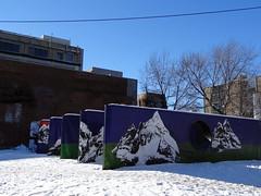 Art installation on rue Sainte-Catherine in Montreal (chibeba) Tags: city winter vacation urban holiday canada art village montral quebec montreal january installation northamerica qc 2016 gayvillage citybreak