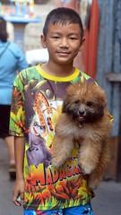 colorfully dressed boy with dog (the foreign photographer - ) Tags: boy dog cute portraits thailand nikon bangkok bang dressed bua colorfully khlong bangkhen d3200 jan92016nikon