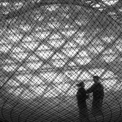 caged relationship (Blende1.8) Tags: leica white black art monochrome museum square couple jung kunst young paar struktur cage structure installation nrw monochrom dsseldorf kfig weiss schwarz k21 109 ausstellung dlux netz quadrat inorbit kunstsammlungnrw tomssaraceno carstenheyer