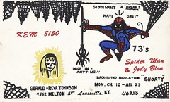 Spider Man & Jody Blon - Louisville, Kentucky (73sand88s by Cardboard America) Tags: copyright girl vintage kentucky spiderman blonde superhero louisville qsl cb cbradio