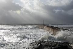 Pier (nevnevs) Tags: ocean winter sea sky storm water landscape coast pier rocks cornwall waves outdoor wave shore breakers porthleven