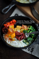 One Pan Breakfast (TailorTang) Tags: stilllife food breakfast tomato 50mm toast egg fresh castiron spinach bellpepper skillet 5014 foodphotography