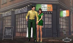 Luck O' the Irish (The Style Guy) Tags: ireland portrait irish building green love beer phoenix photoshop pub couple dress formal picture sl patio suit secondlife bracelet heels swank chalkboard damselfly unisex irishpub stpatricksday mayfly newsboy aeros maitreya flippant damselflyhair lelutka glamaffair 69parkave mayflyeyes clefdepeau themeshproject damselflysalon comesoonposes luckyserrari thedarcyosade