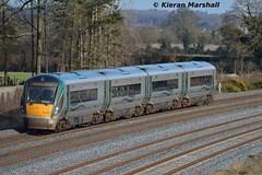 22030 passes Stacumny Bridge, 15/2/16 (hurricanemk1c) Tags: irish train rail railway trains railways irishrail rok rotem countykildare 2016 22030 icr iarnród 22000 éireann iarnródéireann 4pce dublintocork stacummybridge 1100waterfordheuston