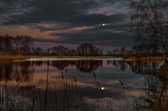 The charm of nightfall 2 (piotrekfil) Tags: trees sunset sky moon lake nature water clouds reflections landscape twilight pentax dusk poland waterscape piotrfil