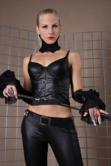 Sandy 20 (The Booted Cat) Tags: woman sexy girl leather model pants crop blonde whip mistress corsage leggins thigt