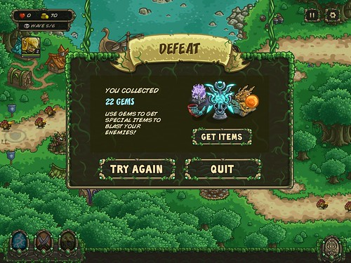 Kingdom Rush Origins Level Failed: screenshots, UI