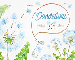 Dandelions. 14 Watercolor Clipart, blowballs, floral wedding, invitation, greeting card, diy clip art, flowers, quote, love, jars, template (octopusartis) Tags: flowers wedding art floral digital watercolor diy dandelion clip invitation elements clipart watercolour valentines invite dandelions blowball
