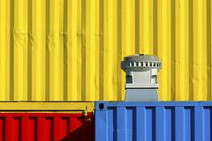 Red, yellow and blue (on Explore) (Jan van der Wolf) Tags: blue shadow red geometric colors lines yellow composition bash blauw dent damage schaduw geel rood primarycolors lijnen kleuren schade compositie dint beschadiging primairekleuren ruule deuken 151101v