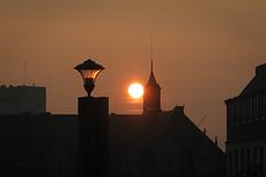 Rising Sun (Gilderic Photography) Tags: city morning roof light sky sun lamp skyline architecture sunrise canon belgium belgique belgie liege g7x gilderic