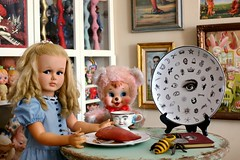 Alice in Rydenland ~ (voo_doolady) Tags: bear art cup vintage toys photography doll tea yams bee markryden baileys teaparty aliceinwonderland horsman playpal yhwh rushton surrealistplate rubberfacetoysvintage