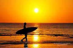 Sunrise Surfer (Gualberto Becerra/CraterValley Photo) Tags: ocean travel sunset red sea summer orange woman sun tourism beach water silhouette sport yellow clouds swim sunrise fun dawn coast sand surf waves pacific dusk surfer board lifestyle resort surfboard tropical catch leisure recreation activity carry active passtime