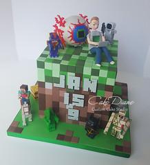 Minecraft Terraria 1 (Cake Diane Custom Cake Studio (eyedewcakes)) Tags: birthday boy game grass cake computer modeling squares laptop tiles cube fondant gumpaste terraria minecraft