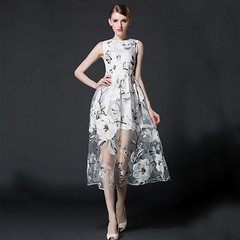 Elegant Printing Organza Midi Dress (lanytrends) Tags: white sexy girl beautiful beauty fashion lady women dress dresses midi organza whitedress lacedress organzadress